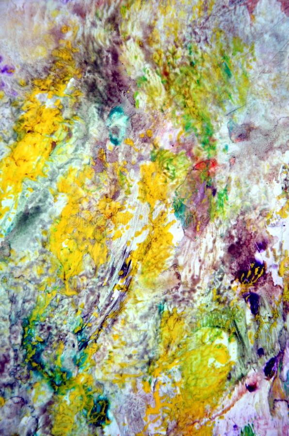 Gula röda violetta pastellfärgade färger för mörka fläckar, ljus pastellfärgad bakgrund för målarfärgakrylvattenfärg, färgrik tex arkivbild