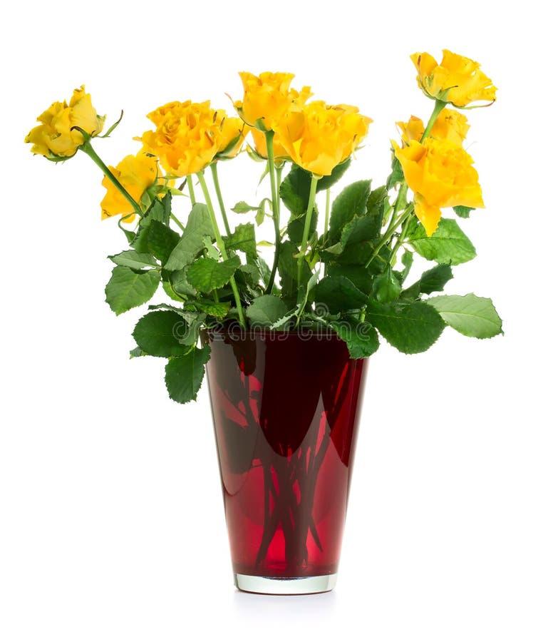 Gula ro i vase royaltyfria bilder