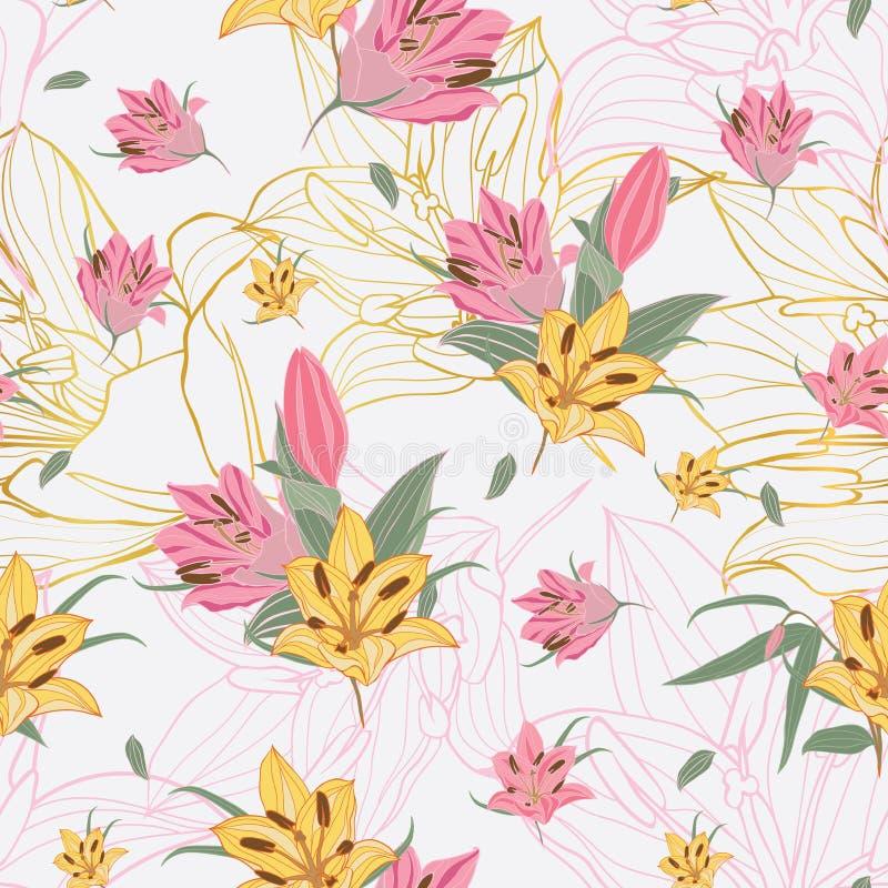 Gula & rosa Liliumblommor för vektor med guld- blommabandbakgrund royaltyfri illustrationer
