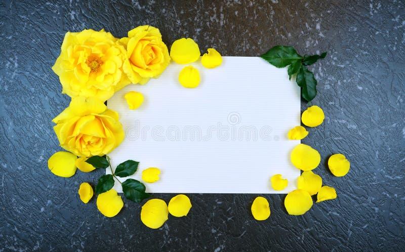 Gula rosor gränsar för inspirerande meddelande för hälsningkort royaltyfri fotografi