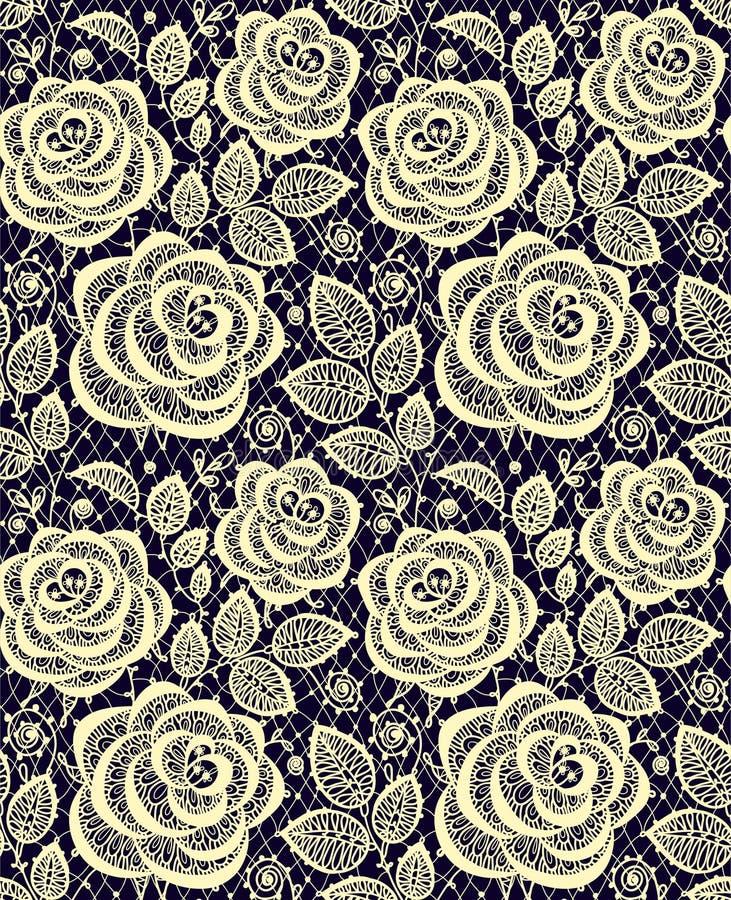 Gula rosor snör åt den sömlösa modellen stock illustrationer