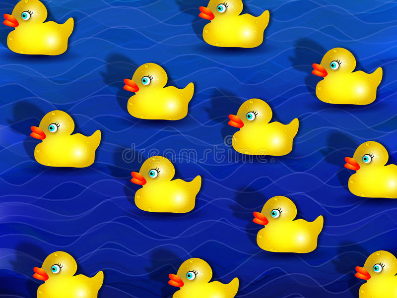 Gula rubber duckies royaltyfri illustrationer