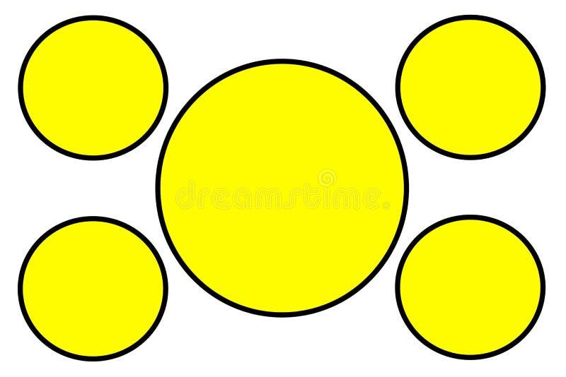 Gula runda baner, svart gräns och vit bakgrund Bruk f?r illustrationavsikt, bakgrund, website, aff?rer, royaltyfri foto