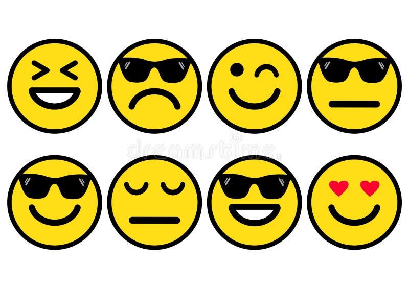 Gula smileys för sommar i solglasögon, emoticonssymbol som är positiv som är neutral och som är negativ också vektor för coreldra stock illustrationer