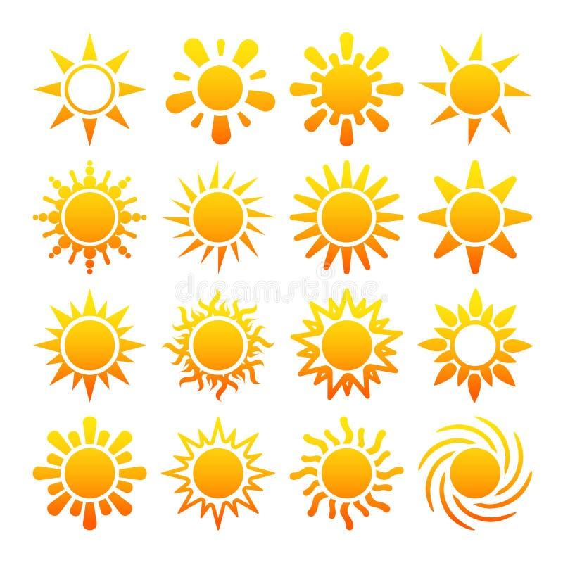 Gula solvektorsymboler som isoleras på vit bakgrund royaltyfri illustrationer