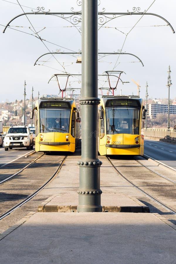 Gula spårvagnar på den Margaret bron, Budapest, Ungern arkivfoto