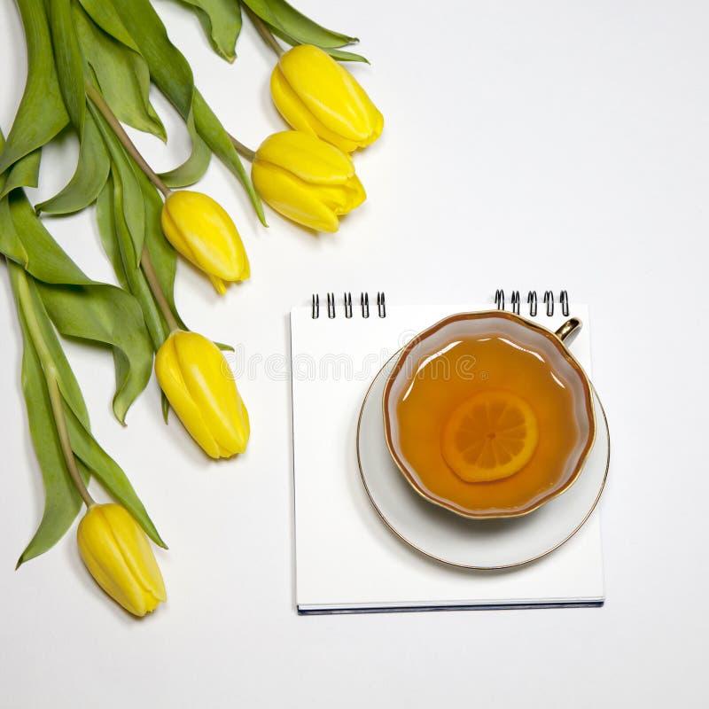 Gula tulpan med anteckningsboken med ett te på en vit bakgrund royaltyfri fotografi