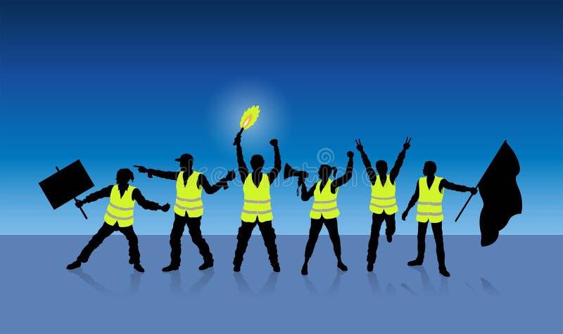 Gula västar protesterar i Paris Frankrike framme av midnatta blått stock illustrationer