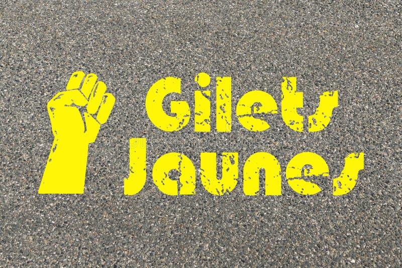 Gula västar protesterar och krisen i Frankrike royaltyfri illustrationer