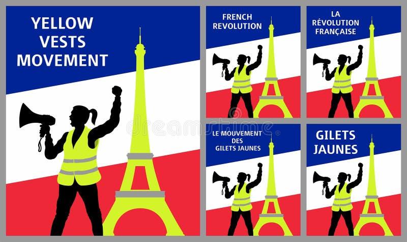 Gula västar protesterar symboler med Eiffeltorn i Paris Frankrike vektor illustrationer