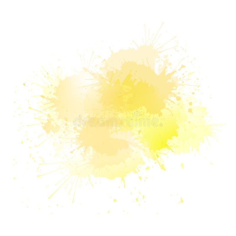 Gula vattenfärgfärgstänk med viktig Objektet är separat från bakgrunden royaltyfri illustrationer
