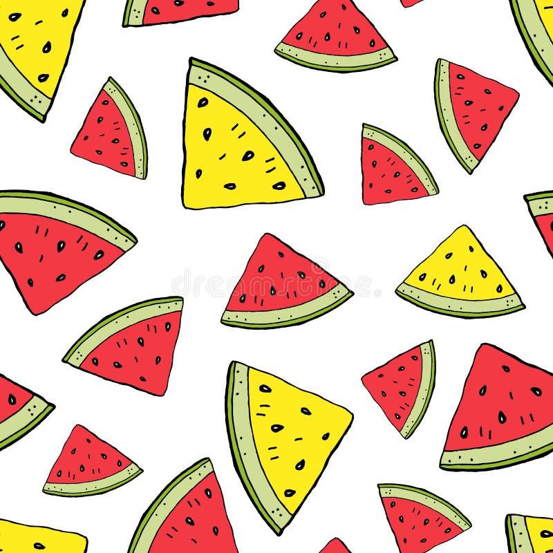 Gula vattenmelonskivor som är röda och vektor illustrationer