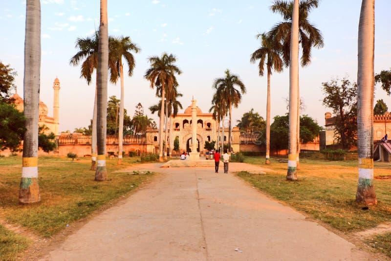 Gulab Bari in Faizabad where the tomb of Nawab Shuja-ud-daula the third Nawab of Awadh, is located. Gulab Bari in Faizabad with a replica of Lion capital, in royalty free stock image