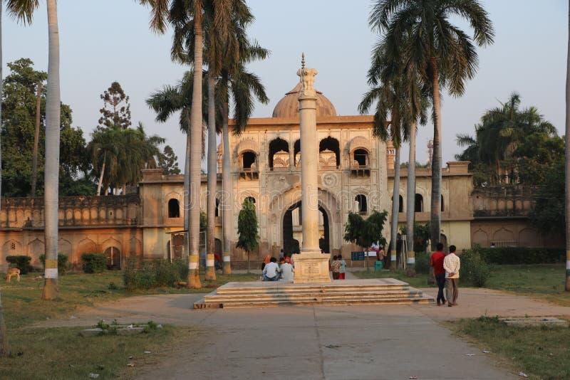 Gulab Bari in Faizabad where the tomb of Nawab Shuja-ud-daula the third Nawab of Awadh, is located. Gulab Bari in Faizabad with a replica of Lion capital, in stock photography