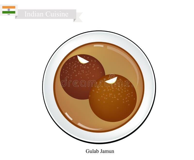Gulab Jamun eller indiska efterrättbollar med söt sirap stock illustrationer