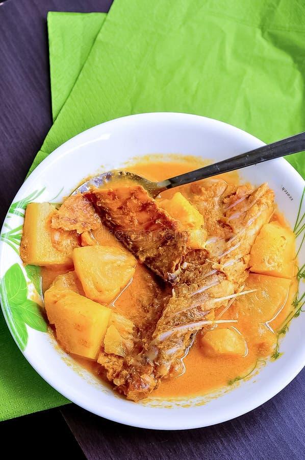 GULAI IKAN KERING/DRIED鱼咖喱/咸鱼炖煮的食物-马来的传统盘在一块白色板材服务 库存照片