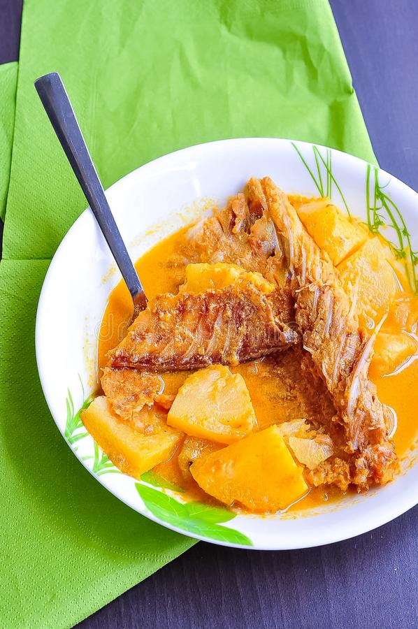 GULAI IKAN KERING/DRIED FISH CURRY / SALTED FISH STEW - Malay traditional dish served in a white plate. Selective focus. Top view royalty free stock images