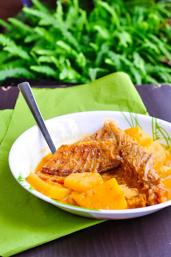 GULAI IKAN KERING/DRIED FISH CURRY / SALTED FISH STEW - Malay traditional dish served in a white plate. Selective focus. Top view royalty free stock photo