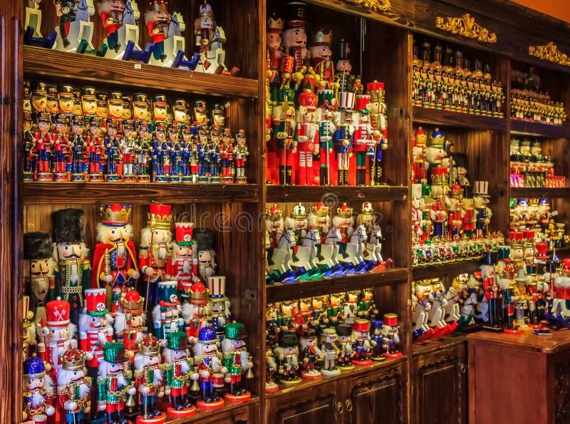 Nutcracker toys on display royalty free stock photography