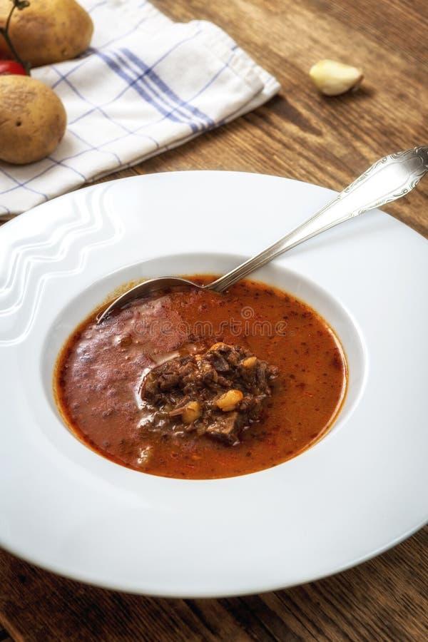 Gulaschsoppa med nötkött arkivfoto