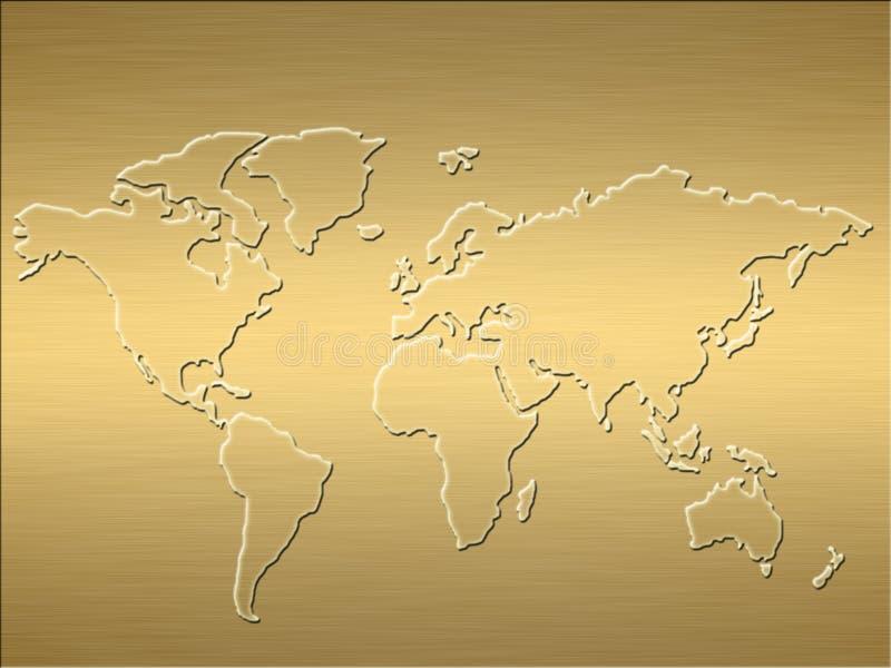 guldöversiktsvärld stock illustrationer