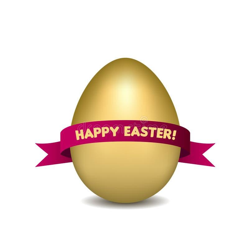 Guld- ägg för påsk med det röda bandet som isoleras på royaltyfri illustrationer