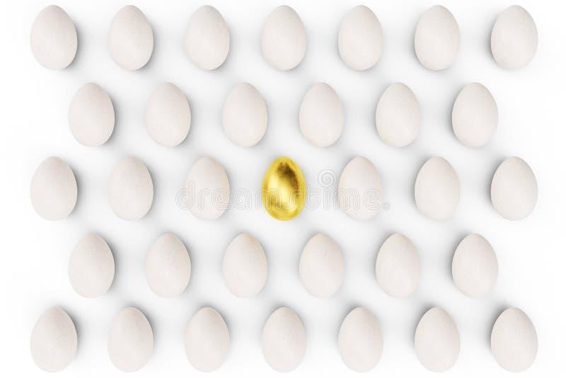 Guld- ägg i en mitt, bästa sikt för ägg begreppsegenart, exclusivity och framgång i liv Guld- ägg som ett tecken av royaltyfri foto