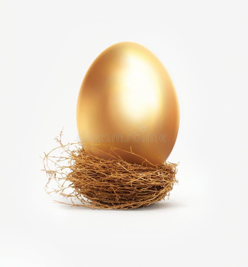 Guld- ägg i rede arkivbild