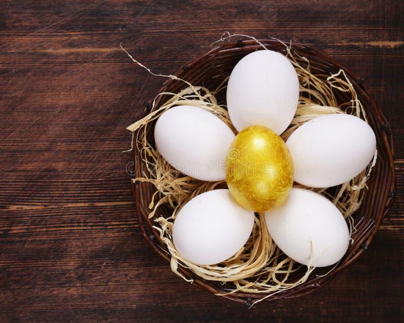 Guld- ägg och vita ägg royaltyfri bild