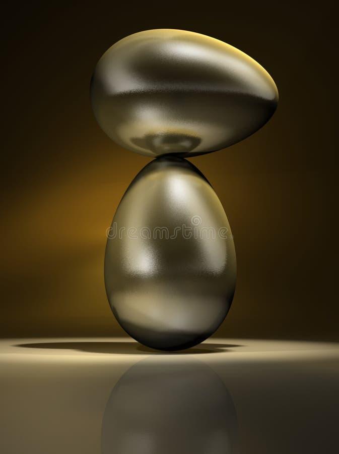guld- äggequilibrium vektor illustrationer