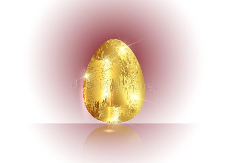 Guld- äggsymbol som isoleras på bakgrund för ljus färg för lyckligt kort för påskdaghälsning i bladguldet som täcker sti vektor illustrationer