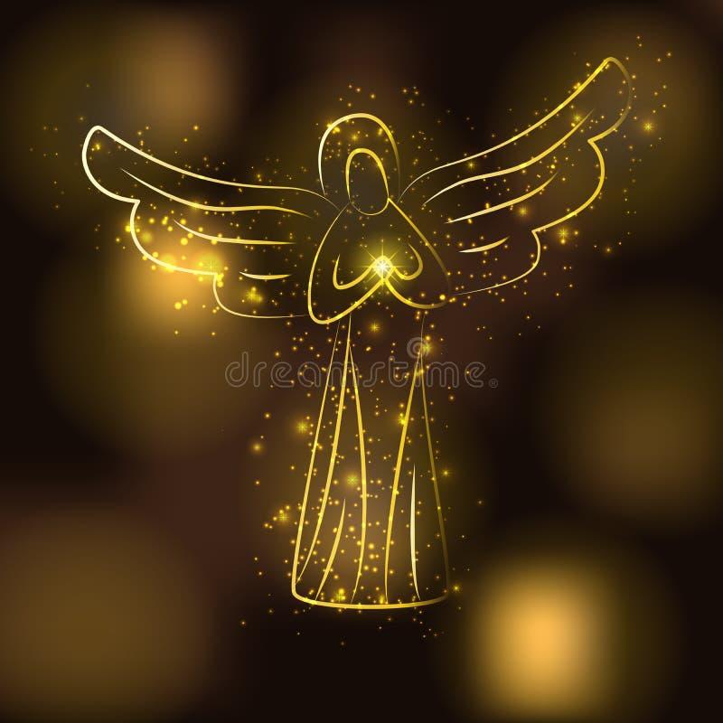 Guld- ängelkontur på glödande guld- bakgrund för brunt Ängel med den glänsande solen eller stjärnan i hans händer royaltyfri illustrationer