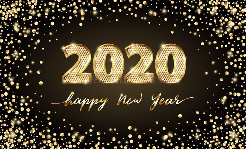Guld- år för text 2020 för vektor lyxig lyckligt nytt Guld- festlig nummerdesign Guld blänker konfettier Siffror för baner 2020 royaltyfri illustrationer