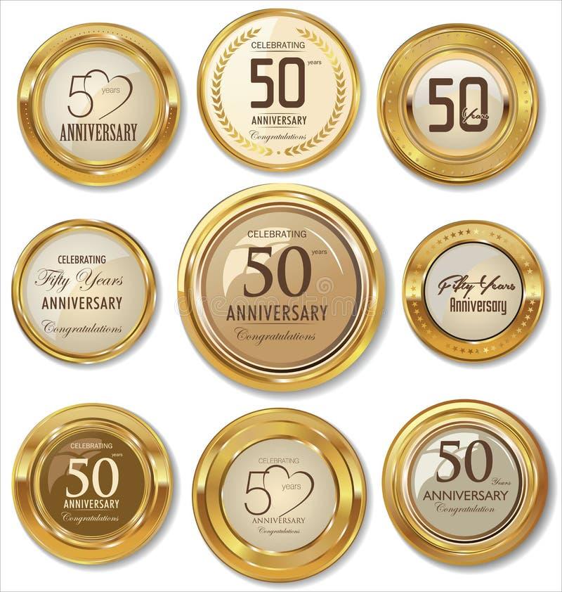 Guld- årsdagetiketter, 50 år royaltyfri illustrationer