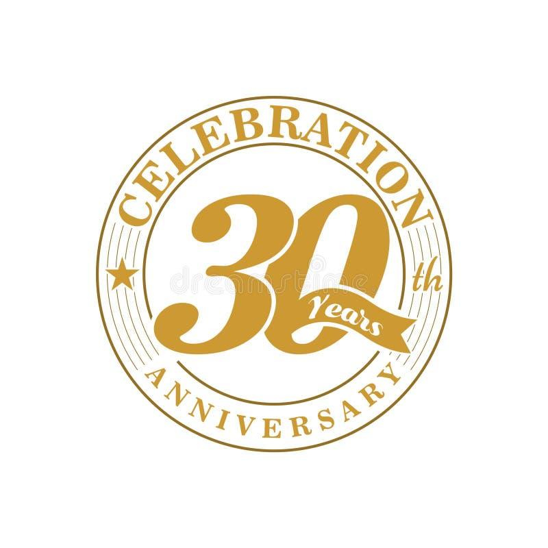 guld- årsdaglogo för th 30 stock illustrationer