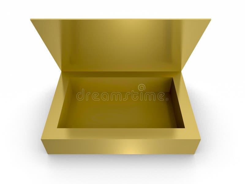 Guld- öppet gåvaaskmellanrum på vit bakgrund royaltyfria foton
