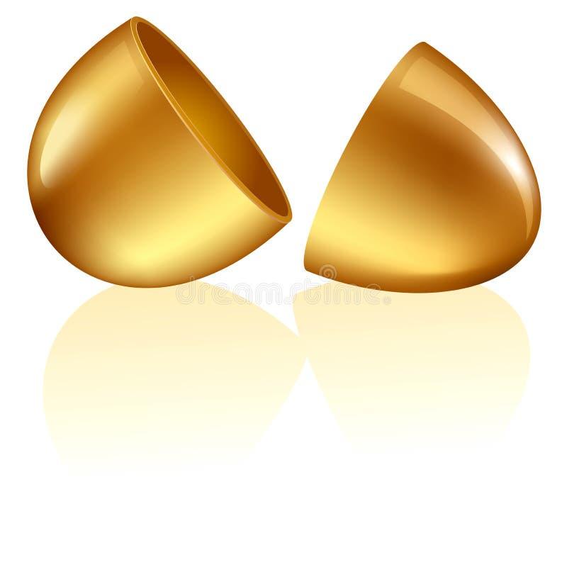 guld- öppnat blankt för ägg royaltyfri fotografi
