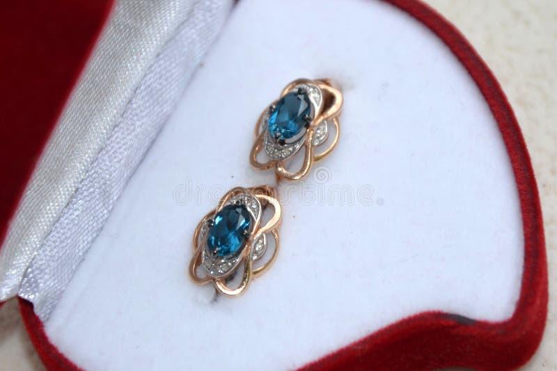 Guld- örhängen med briljantar royaltyfri foto
