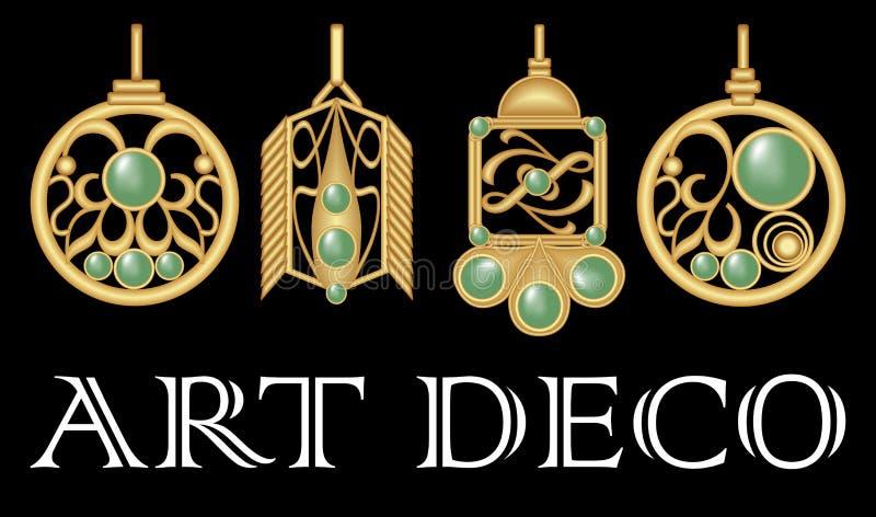 Guld- örhängen med den gröna ädelstenen Uppsättning av den antika guld- juveln i art décostil Nostalgiska tappningmodeller Metall vektor illustrationer