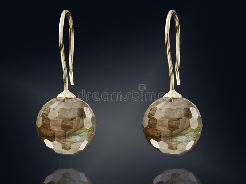 Guld- örhängen med gemstonen som isoleras på svart bakgrund royaltyfri bild