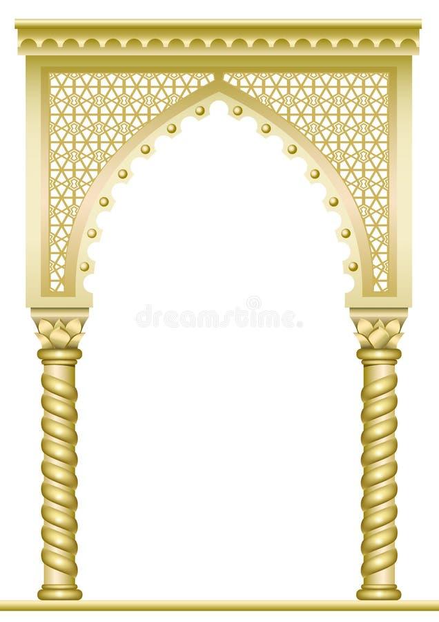 Guld- östbåge royaltyfri illustrationer