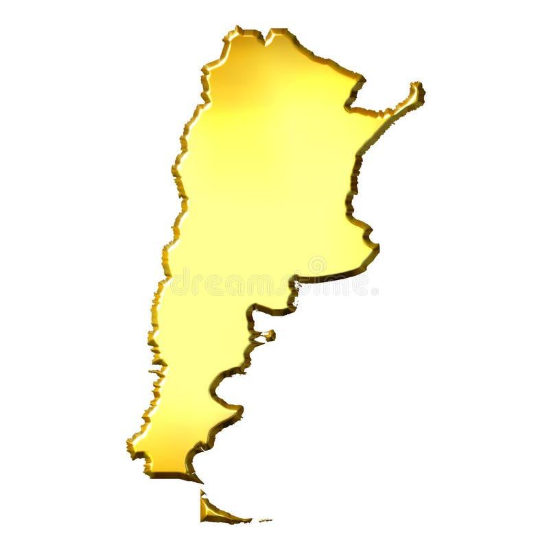 guld- översikt för 3d argentina royaltyfri illustrationer