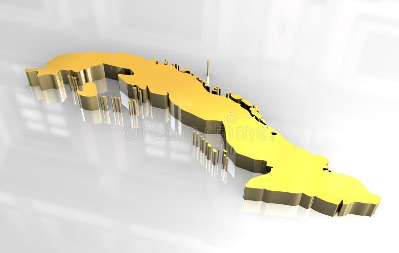 guld- översikt för 3d cuba royaltyfri illustrationer
