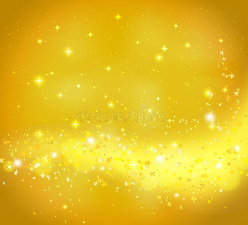 Guld- abstrakt bakgrund med flödande ljus stock illustrationer