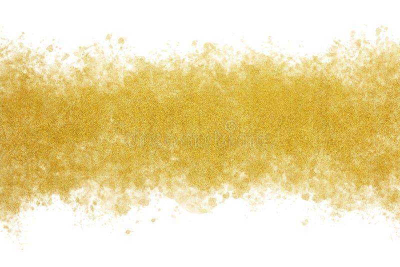 Guld- abstrakt begrepp för färgpulvervattenfärgfärgstänk eller tappningmålarfärgbakgrund arkivfoton