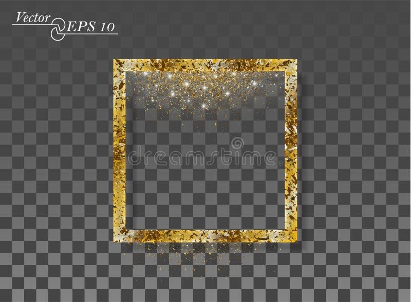 Guld- abstrakt fyrkant med fallande moussera damm på genomskinlig isolerad bakgrund Vektorram för det nya året, jul vektor illustrationer