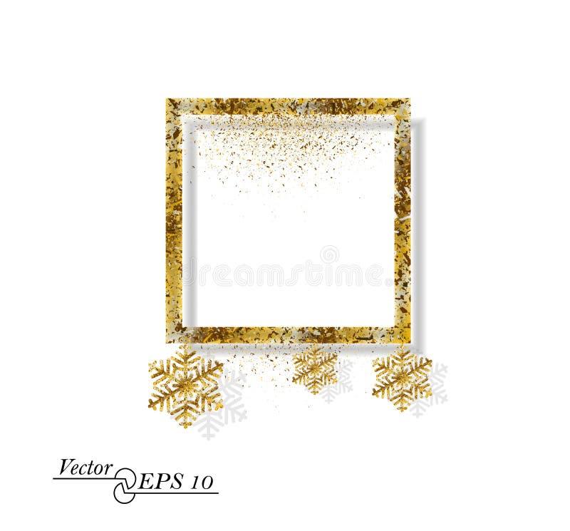 Guld- abstrakt fyrkant med snöflingor Fallande guldstoft på vit isolerad bakgrund Vektorram för det nya året, jul stock illustrationer