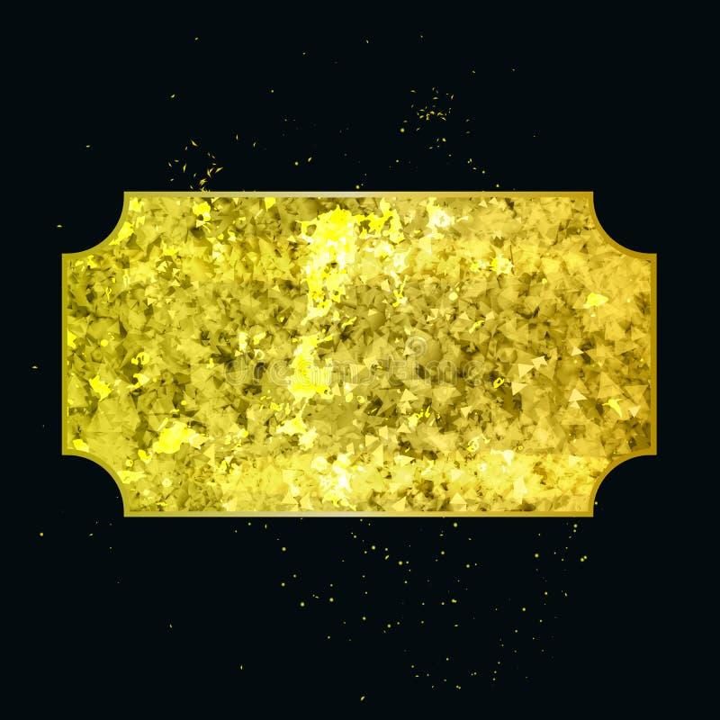 Guld- abstrakt geometrisk form i vektor royaltyfri illustrationer