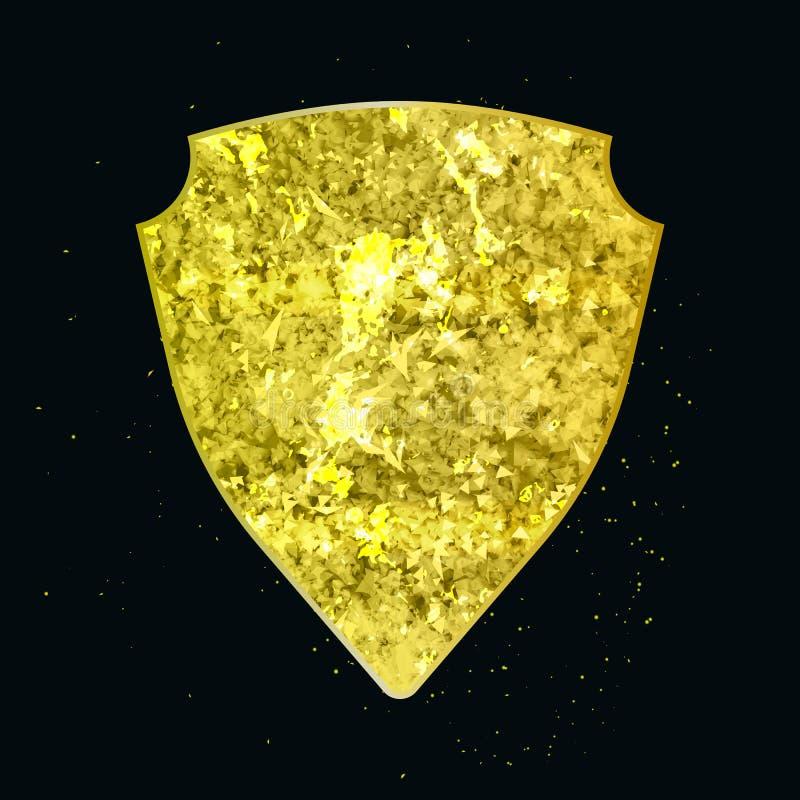 Guld- abstrakt geometrisk form som skölden vektor illustrationer