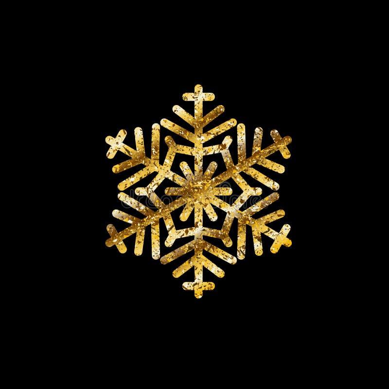 Guld- abstrakt snöflinga Modell för jul för nytt år för vinter Dekorativ beståndsdel för vektor på svart isolerad bakgrund stock illustrationer